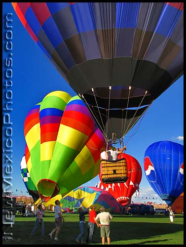a hot air balloon gets off the ground at the 2004 Albuquerque International Balloon Fiesta