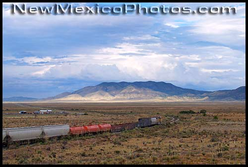 a freight train heads north out of carrizozo