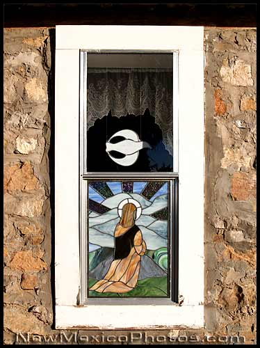 window of a small new mexican church