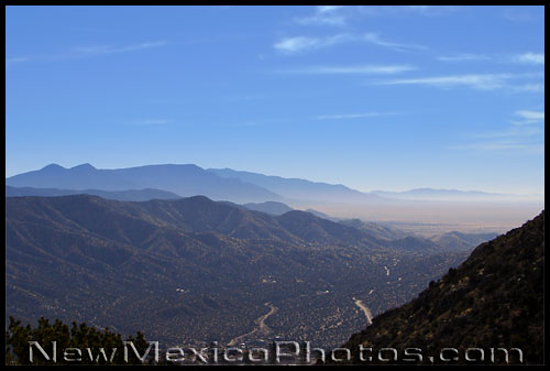 photo of the view looking south from a spur off Embudo Trail in the Sandias
