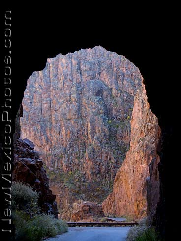 peering out of one of the Gilman tunnels, in the Jemez