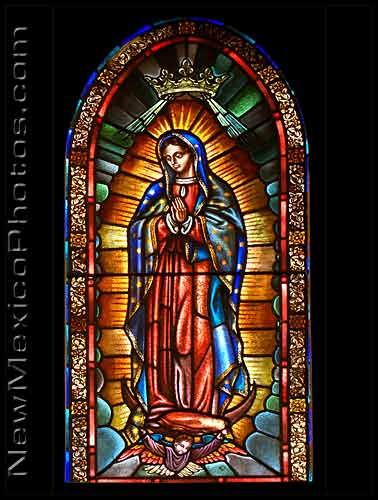 the lady of guadalupe in stained glass at the St Francis Cathedral in Santa Fe