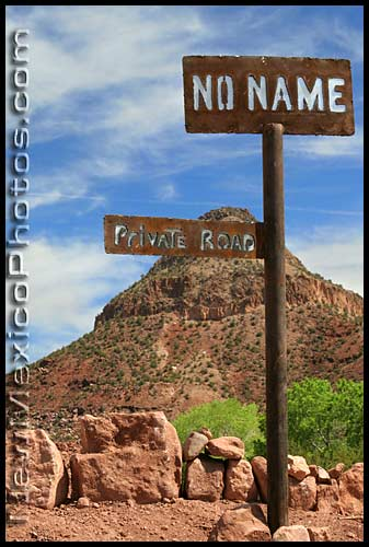 private road called No Name in the Jemez