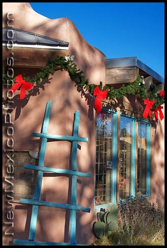 photo of a shop in old town, all decked out for Christmas