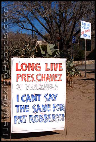 political signs in a yard near UNM