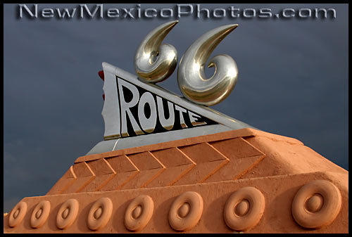 route 66 monument at the tucumcari convention center