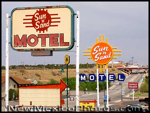 the sun and sand motel, with both old and new signs -- on old route 66 in Santa Rosa