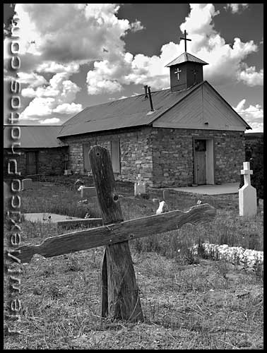 church and graveyard in Tajique, New Mexico