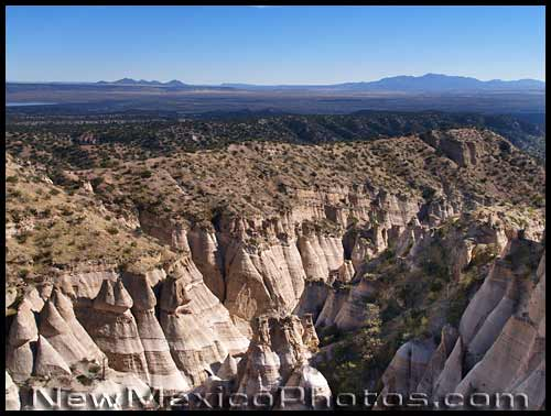 view of tent rocks from above, looking southeast