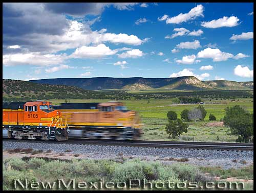 freight trains in Abo Canyon -- one moving, one still
