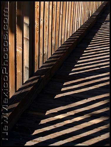 wooden bridge and shadows at elena gallegos picnic area