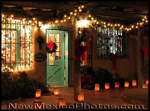 photograph of luminarias in Albuquerque's Old Town
