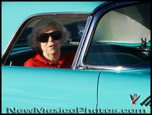ready to ride in a 1955 t-bird at the route 66 car show