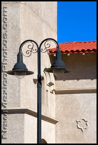 A lamp post at Alvarado Transportation Center, in downtown Albuquerque