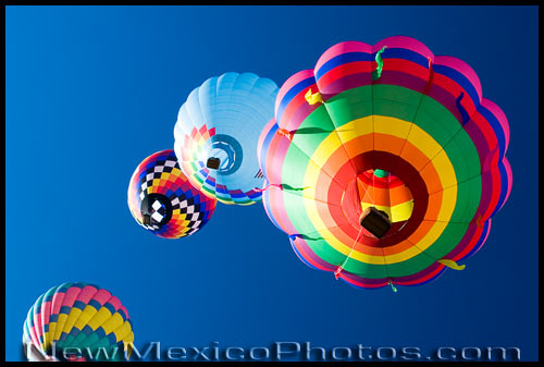 hot air balloons fly overhead at the 2006 Albuquerque International Balloon Fiesta