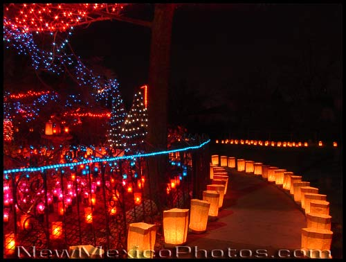 the yard to the left of the curve in this photo has hundreds of lit candles each year in addition to the luminarias
