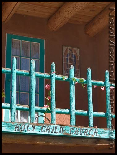 The balcony of a small church in Tijeras Canyon, east of Albuquerque