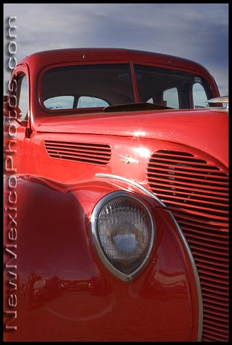 bright red pickup truck