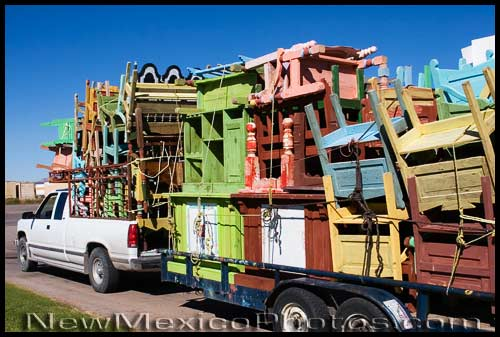 A truck and trailer, full of furniture from Chihuahua, Mexico, on its way to Ruidoso
