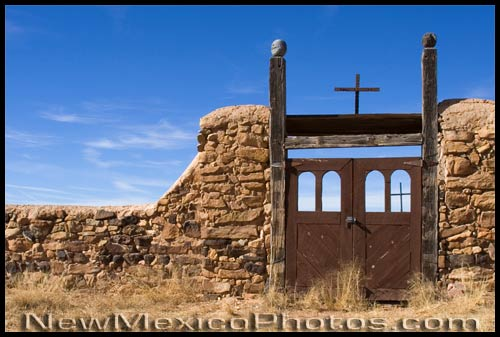 Looking through the gate to the old graveyard in Galisteo