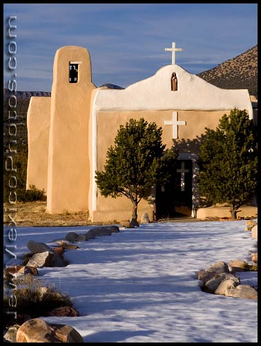 Golden hour at the church in Golden, New Mexico