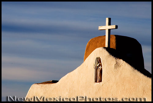 A different view of the church in Golden emphasizes St Francis in his niche