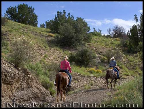 horse riders at cerillos hills historic park