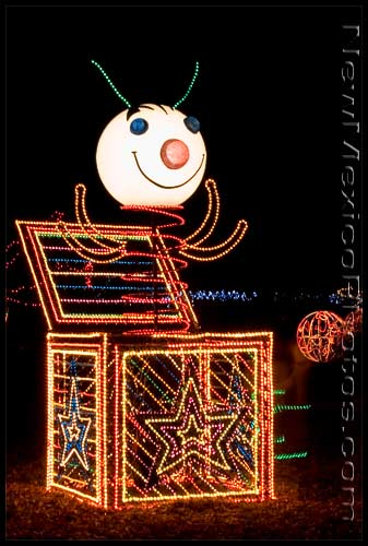 A large, lighted jack-in-the-box at the River of Lights (Rio Grande Botanic Garden) is a favorite among children