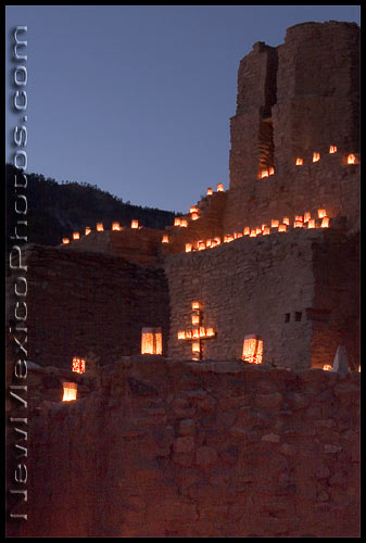 The annual luminaria event at Jemez State Monument, with over 1500 luminarias