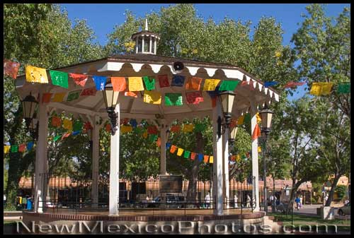 the gazebo in Old Town Albuquerque, surrounded by prayer flags