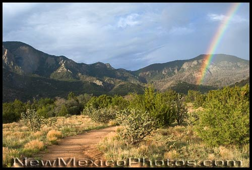 late afternoon rainbow at elena gallegos picnic area
