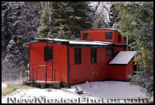a one-time caboose, now transformed into a home, in northern New Mexico