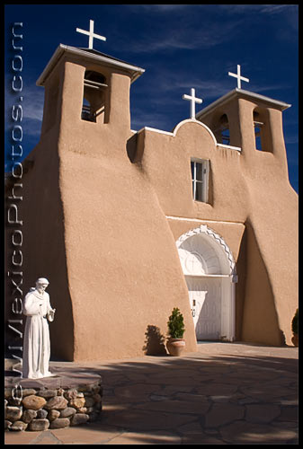 The renowned San Francisco de Asis Church in Taos, including a statue of its patron saint, St Francis