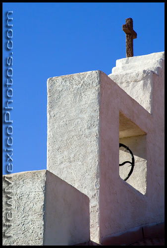 One of the bell towers of the St. Francis Church in Tularosa