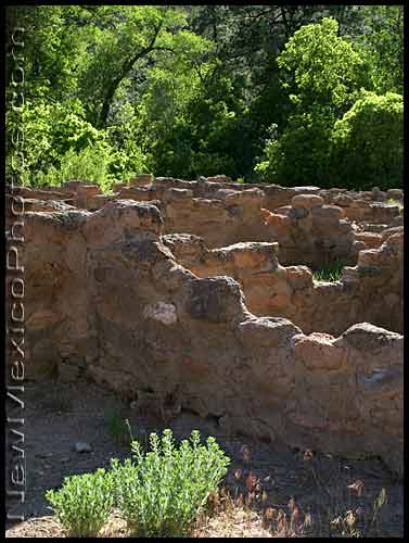 late afternoon light slants over tyuonyi ruins at Bandelier National Monument