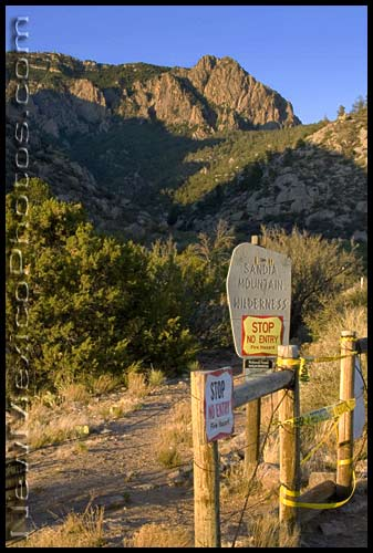 sign noting closure of sandia mountain wilderness due to extreme fire hazard
