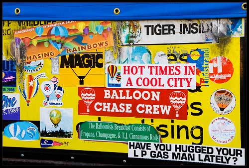The back of an obviously well-used trailer at the Albuquerque International Balloon Fiesta