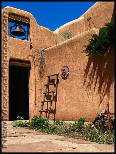 A small courtyard at Ghost Ranch features a bell tower