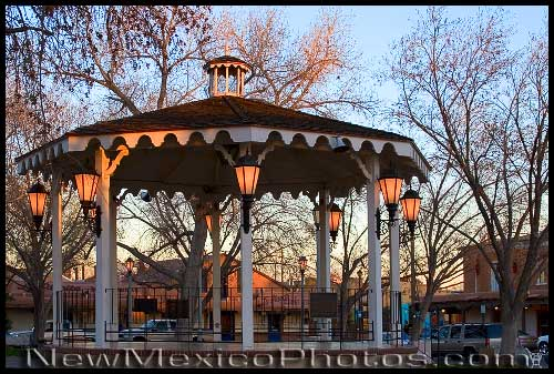 The gazebo in Old Town Plaza, at golden hour