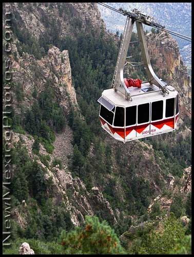 The Sandia Peak Tramway -- longest in the USA, and perhaps the world -- traverses incredibly rugged terrain