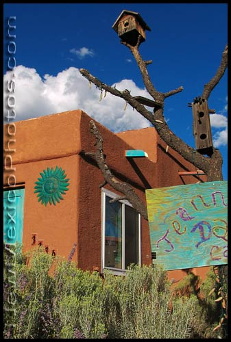 an unusual pair of birdhouses in one of Albuquerque's residential neighborhoods