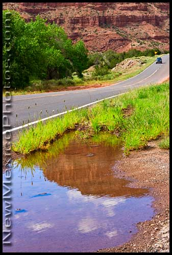 A small part of State Highway 4, in the midst of the red rocks of the Jemez