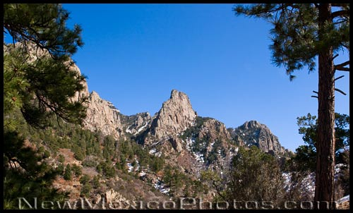 the rugged terrain of the Sandia Mountains, as seen from La Luz Trail