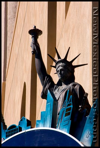 Lady Liberty, spotted in front of a restaurant in downtown Albuquerque