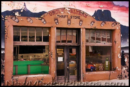 A storefront in Mountainair, painted to look as if the paint is peeling