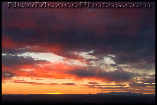 Watching tonight's sunset, while looking west over Albuquerque towards Mt. Taylor
