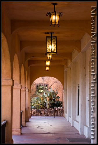 A covered walkway at the San Felipe de Neri Church in Old Town Albuquerque
