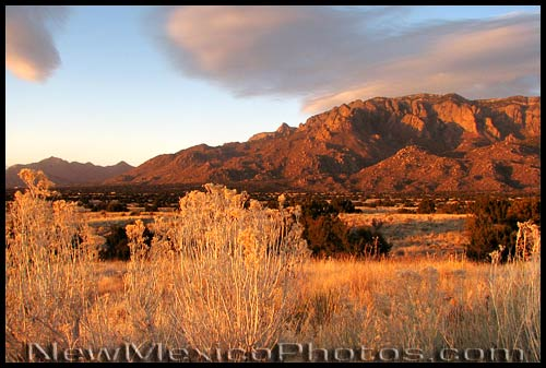 The Sandias shortly before sunset, as seen from the foothills
