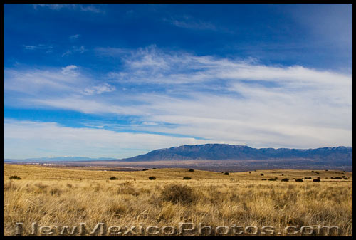 Looking east, across the Rio Grande Valley, from the volcanos at Petroglyph National Monument to the Sandia Mountains