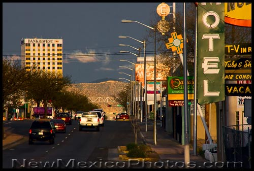 looking east on old Route 66 in Albuquerque at dusk
